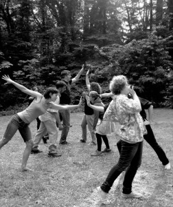 Actors playing theater games in rehearsal for A Midsummer Night's Dream